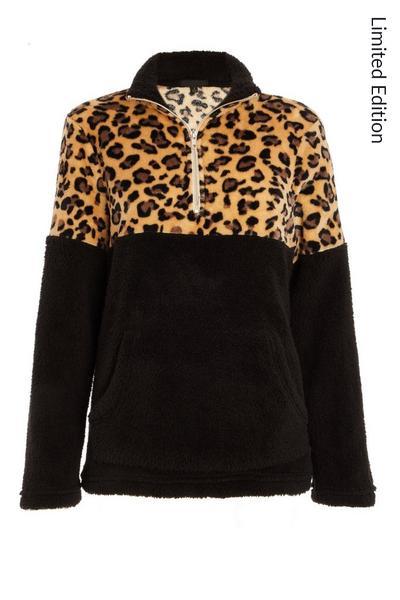 Black Leopard Print Zip Top